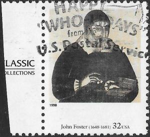 US 3236a Used - American Art - Portrait of Richard Mather, by John Foster