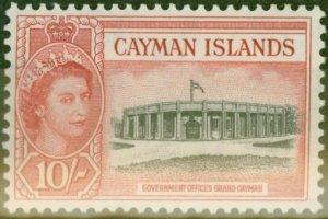 Cayman Islands 1955 10s Black & Rose-Red SG161 V.F Very Lightly Mtd Mint