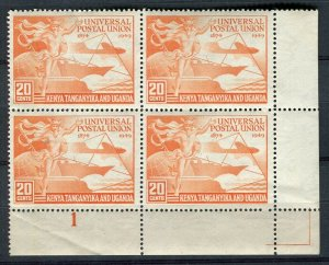 BRITISH KUT; 1949 early UPU issue fine Mint MNH Corner Block 20c.