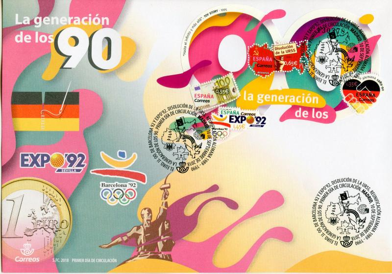 Spain 2018 FDC Nineties Generation of 90s 4v M/S Cover Historical Events Stamps