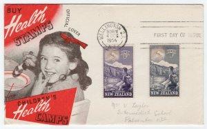 (I.B) New Zealand Postal : Health Stamps FDC (1954)