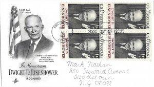 #1383, 6c Dwight D. Eisenhower, Art Craft cachet, block of 4