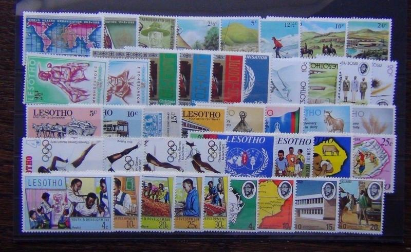 Lesotho 1968 1974 sets WHO Scouts Youth Siege UPU Olympics Food Tourism MNH