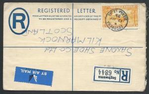 SIERRA LEONE 1955 Uprated 4d Registered envelope used SEGBWEMA to UK.......56417