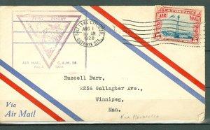 US 1928 1st AIRMAL FLIGHT..CAM 26...AUG. 1 SALT LAKE-POCATELLO-WINNIPEG