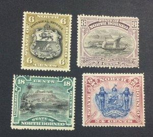 MOMEN: NORTH BORNEO SG #73a,74b,78-79 1894 MINT OG H £66 LOT #6956