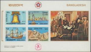 Bangladesh #114a, Complete Set, Souvenir Sheet, Imperforated, Never Hinged