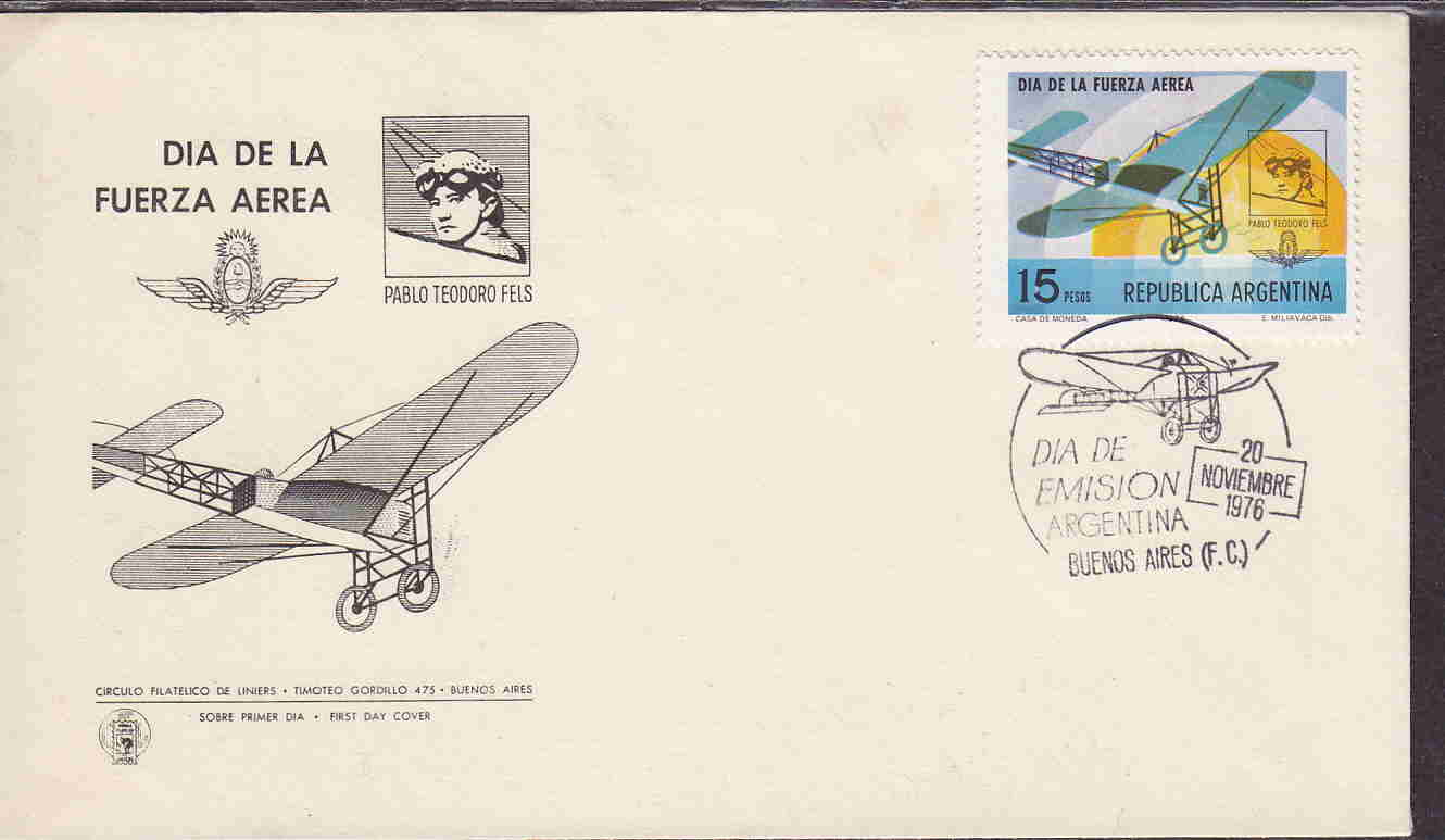 ARGENTINA AIR FORCE DAY FDC TEODORO FELS AAC2680 / HipStamp