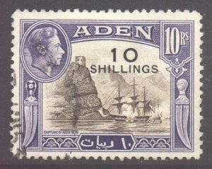 Aden Scott 46 - SG46, 1951 Surcharge 10/- on 10r used