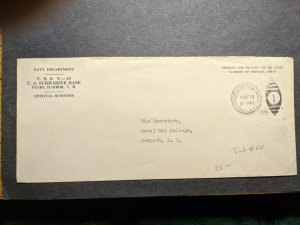 Submarine USS S-44 SS-155 Official Naval Cover 1935 PEARL HARBOR, HAWAII SUNK