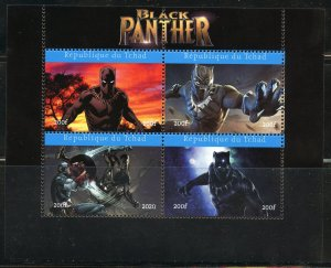 CHAD 2020 BLACK PANTHER SHEET OF FOUR