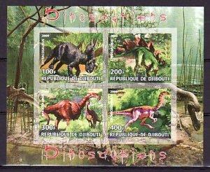 Djibouti, 2009 Cinderella item. Dinosaurs, IMPERF sheet of 4.