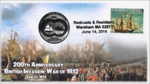 2014 Redcoats and Residents, Warhead British Invasion, Pictorial Postmark