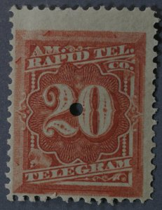 United States #1T6 20 Cent Telegraph Stamp Punched OG