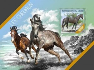 Niger MNH S/S Galloping Horses 2014
