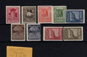 Italy Rhodes #55-63 MH - Stamp CAT VALUE $16.80