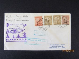 Macao to San Francisco First Flight, 1937 Pan Am, CV Stamps alone $40., backstmp