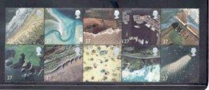 Great Britain Sc 2038a 2002 Coast Line Photos stamp block mint NH
