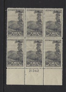 US #749 NATIONAL PARKS 10C (GREY BLACK)  PLATE# BLOCK OF 6 -MINT NEVER HINGED