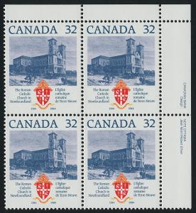 Canada 1029i TR Plate Block MNH Roman Catholic Church Newfoundland