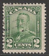 Canada 1928 King George V, 2 cent, green, Scott #150, used