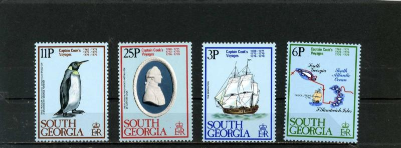 SOUTH GEORGIA 1979 Sc#52-55 SHIPS/CAPTAIN COOK SET OF 4 STAMPS MNH