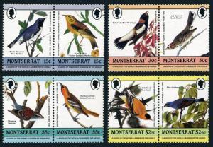 Montserrat 580-583 ab,MNH.Michel 597-604. Audubon's birds 1985.Warbler,Grosbeak,