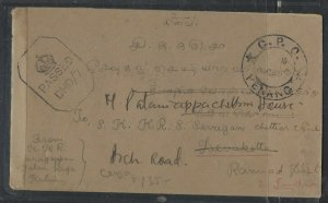MALAYA  PENANG  COVER (P0605B) 1945 STAMPLESS CENSORED COVER PENANG TO INDIA