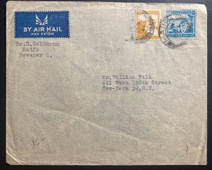 1946 Haifa Palestine Airmail cover To New York USA