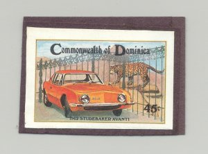 Dominica #811 Automobiles, Wild Cat 1v Imperf Proof Mounted on Card