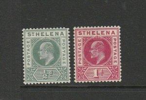 St Helena 1902  EDV11 Pair Fresh MM SG 53/4