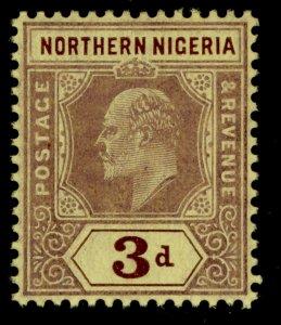 NORTHERN NIGERIA EDVII SG32, 3d purple/yellow, NH MINT.