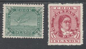 COOK ISLANDS 1913 QUEEN AND BIRD 1/2D AND 1D PERF 14