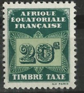French Equatorial Africa # J3  Postage Due - Butterfly 20c (1) Unused VF