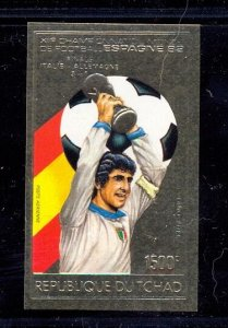 CHAD WORLD CUP GOLD STAMP NON PERF  MNH