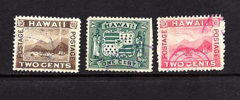 Hawaii Scott #75, 80 & 81a, used