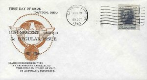 1213b WASHINGTON LUMINESCENT TAGGED - Dayton 10-28-63 - Buckeye cachet