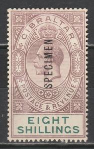 GIBRALTAR 1921 KGV SPECIMEN 8/- WMK MULTI SCRIPT CA