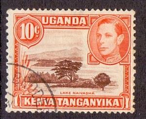 Kenya Uganda and Tanganyika 1938 used George VI  10c. brwon and orange #