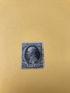 .US.Stamp:Sc#154 USED, 30c, Black Hamilton,The National Banknote Co 1870's