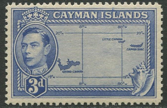 Cayman Islands - Scott 115 - KGVI Definitive -1947 - MVLH- Single 3p Stamp