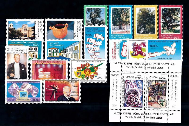 [51517] Turkish Cyprus 1993 Complete Year Set with Miniature sheet MNH