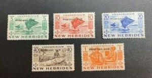 New Hebrides (British) Sc# J11-J15 Mint Hinged MH CV $27