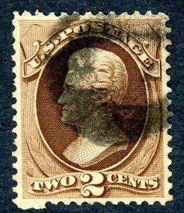 US #146 1870-71 2c Jackson. Used VF Dark Cancel.