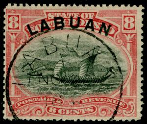 LABUAN SG69, 8c pink, FINE USED, CDS. Cat £35. P.15