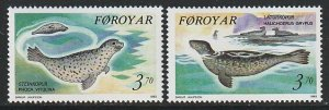 1992 Faroe Islands - Sc 239-40 - MNH VF - 2 single - Seals