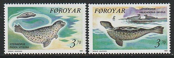 1992 Faroe Islands - Sc 239-40 - MNH VF - 2 single - Seals