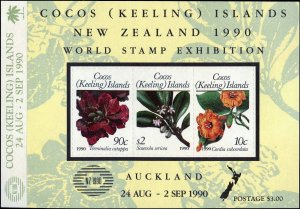 Cocos Islands #217 Complete Set, Sheet of 3, 1990, Flowers, Stamp Show, Never...