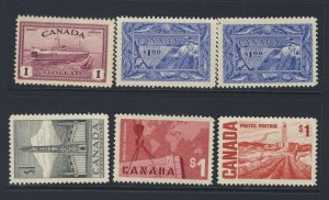 6x Canada Mint $1.00 Stamps #273 2x #302 #321 #411 #465b MH Guide Value= $150.00