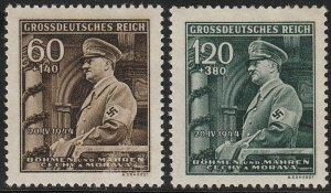 Stamp Germany Bohemia Czechoslovakia Mi 136-7 Sc B25-6 1940 WWII Hitler MNG
